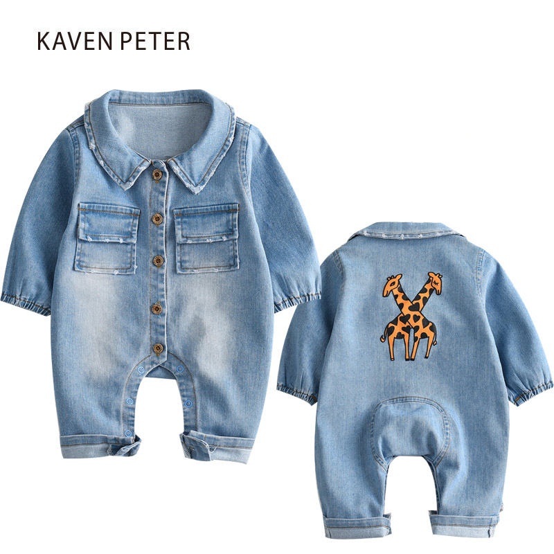 Denim overalls for children blue jean jumpsuits girls baby Cowboy romper boy suit printed romper jumpsuit toddler kids one piece classic men plus size denim bib overalls multi pockets washed blue oversized jean jumpsuits for male big and tall