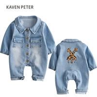Denim salopettes pour enfants bleu jean combinaisons filles bébé Cowboy barboteuse garçon costume imprimé barboteuse salopette enfant en bas âge enfants d'une seule pièce