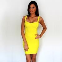 Women sexy bandage dress summer front white spaghetti strap stretch bodycon party ball dress dropship MD8675