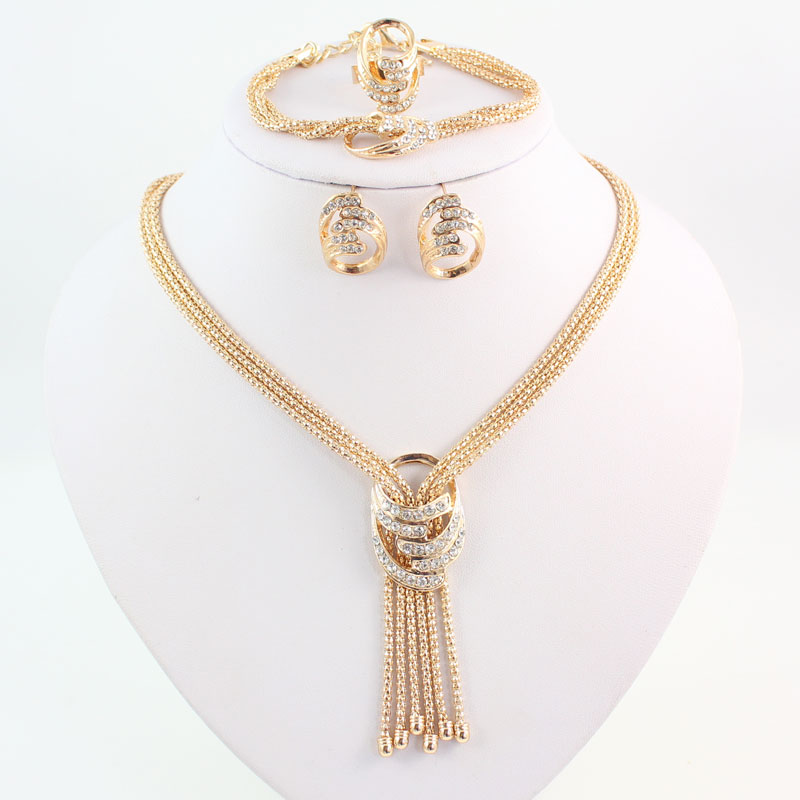 Latest Fashion African Beads Jewelry Sets Wedding Costume Women Party Gold Color Crystal Necklace Bangle Earring Ring