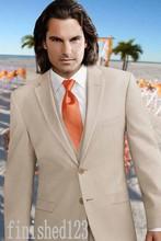 Fashionable Two Button Beige Groom Tuxedos Groomsmen Men's Wedding Prom Suits Custom Made (Jacket+Pants+Vest+Tie) K:71