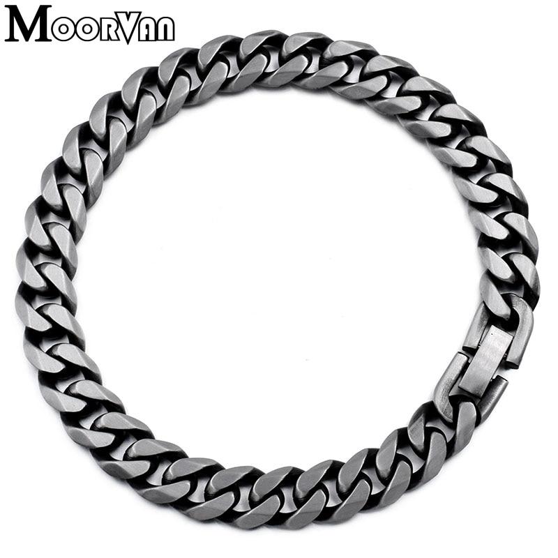 Moorvan Jewelry Men Bracelet Cuban links & chains Stainless Steel Bracelet for Bangle Male Accessory Wholesale B284 9
