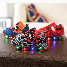 Autumn&Spring Spiderman Children LED Shoes Sneakers Girls Sports Child Casual Light Breathable Boys&Gilrs Flats Kids