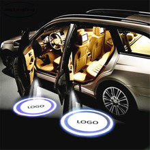 JingXiangFeng 2PCs LED For Chevrolet Car door welcome light Logo Light courtesy  car laser projector Skoda styling