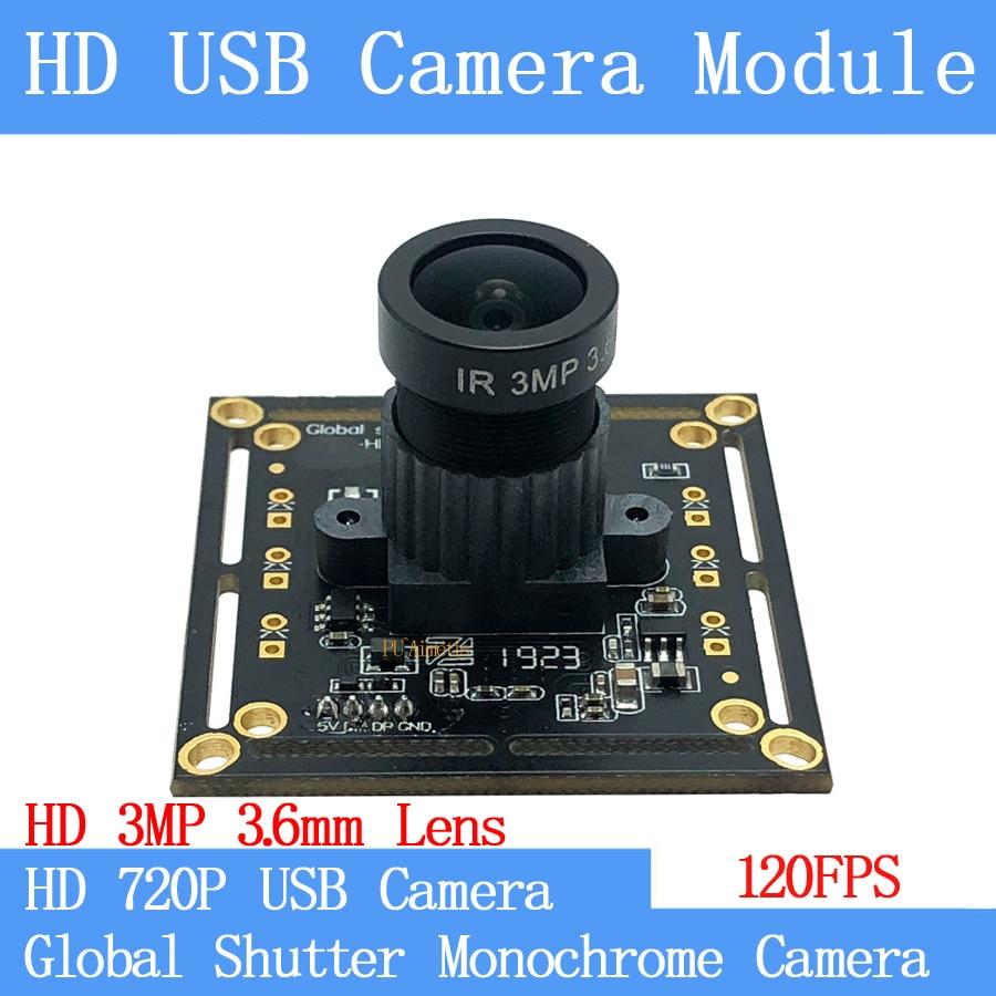 HD MJPEG 120FPS Monochrome USB Camera Module Global Shutter High Speed OTG UVC Linux USB 720P Mini cctv Surveillance camera