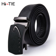 PD-2051 Luxury Brand Men Belt Automatic Genuine leather Black Business Style Fashion Blue Ratche Buckle Belts for Waist