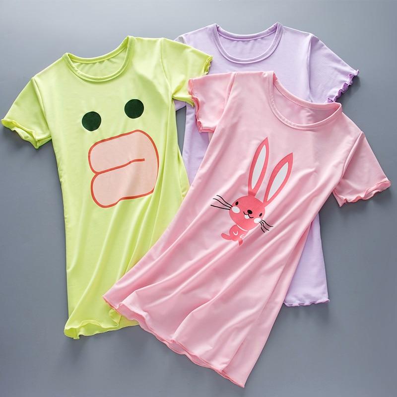 2018 New Summer Cotton Princess Nightgown Girls Pajamas Dresses Kids Homewear Girl Sleepwear Nightwear children home clothing  l