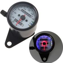 POSSBAY Motorcycle Dual Odometer Speedometer Gauge LED Backlight Signal Light Universal Scooter Motocross Digital ATV