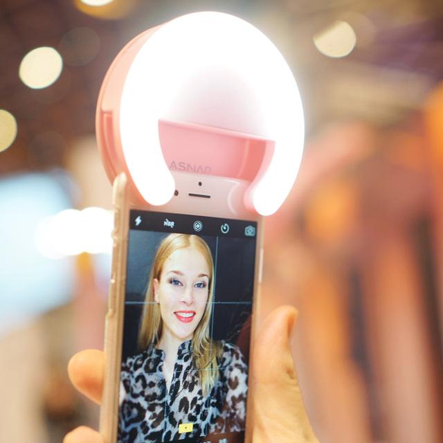ASNAP Timbre Inteligente Autofoto Luz de 5 tipos de Iluminación/Teléfono luz led para iphone 6 s plus/so para samsung vivo android smartphones