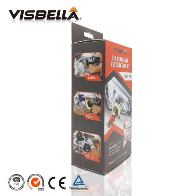 Visbella Headlight Restoration Repair Kit DIY Headlamp Car Care Repair kit Head Lamp Lense Clean Polish by machine with cloth