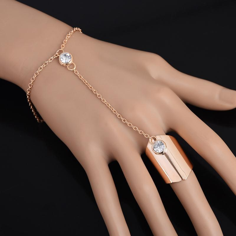 New Fashion Celebrity Bracelets For Women Alloy Chain Bangle Finger Hand Harness Crystal Gold Color Bangels