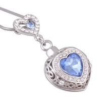 Women Jewelry Blue Ocean Stones Ashes Urn Cremation Pendant Necklace Opens Locket