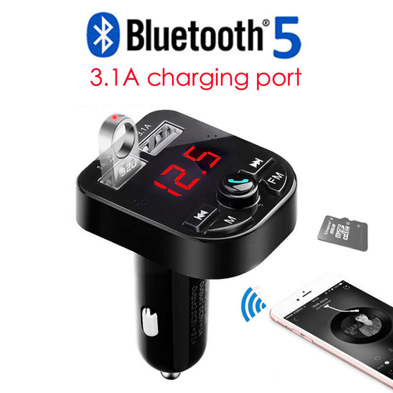 3.1A Bluetooth Car Kit Handsfree Wireless Bluetooth 5.0 FM Transmitter LCD MP3 Player USB Charger Car Accessories Hands free usb