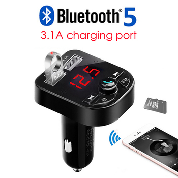 3.1A Bluetooth Car Kit Handsfree Wireless Bluetooth 5.0 FM Transmitter LCD MP3 Player USB Charger Car Accessories Hands free