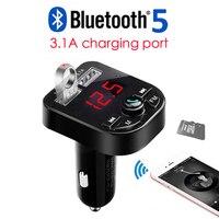 3.1A Bluetooth Kit de coche manos libres inalámbrico Bluetooth 5 0 FM Transmisor LCD MP3 reproductor USB cargador coche accesorios manos libres|Kit Bluetooth de coche| |  -