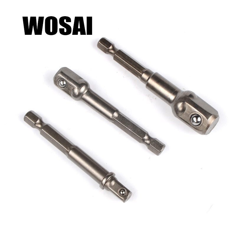WOSAI 3pcs Chrome Vanadium Steel Socket Adapter Set Hex Shank 1/4