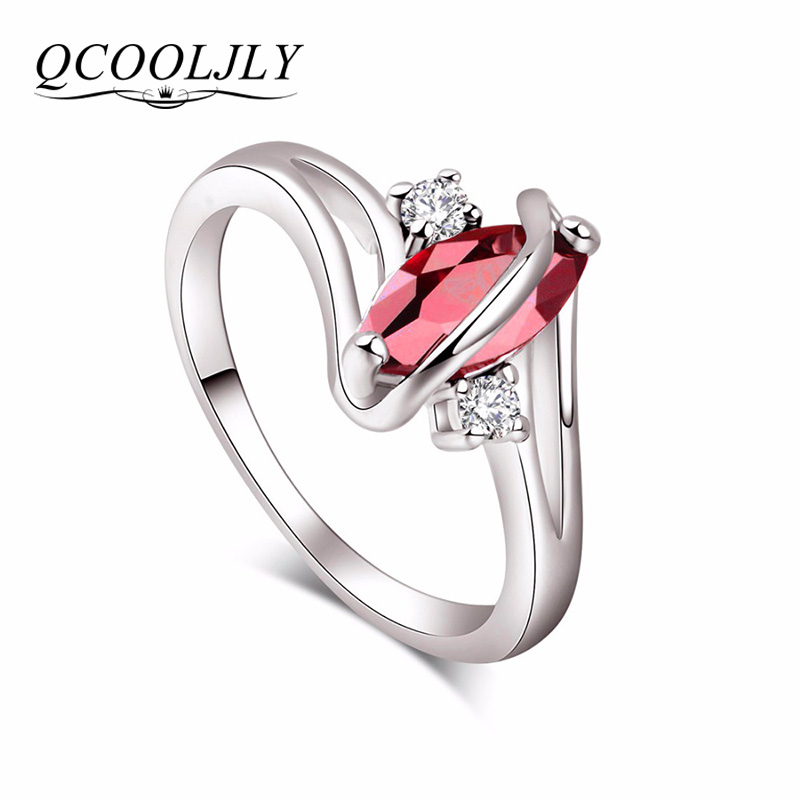 QCOOLJLY Fashion Jewelry Silver Color Cubic Zirconia