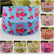 7/8 (22mm) Fruit & Candy Cartoon Character printed Grosgrain Ribbon party decoration satin ribbons OEM 10 Yards Mul092
