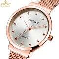 Simple con estilo de moda de lujo marca kingsky relojes mujer correa de malla fina de acero inoxidable dial reloj casual de las señoras reloj de cuarzo