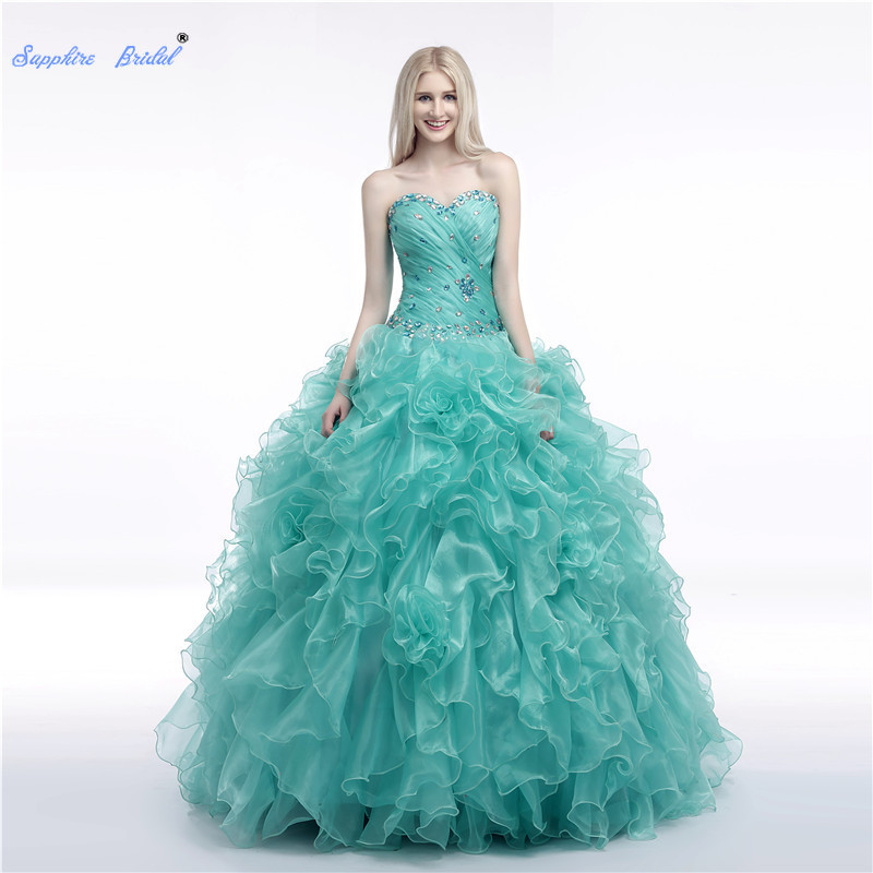 Saphir mariée chérie longues robes De soirée Vestido De 15 Anos De robe De bal Mitzvah Kleider volants perles robe Quinceanera
