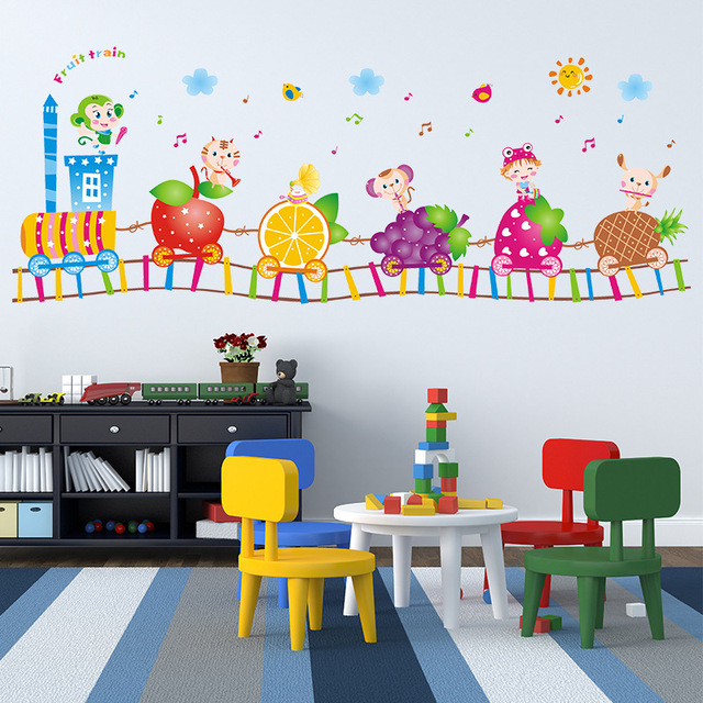 Cartoon Fruit Train Wall Stickers for Kids room Children Bedroom ...
