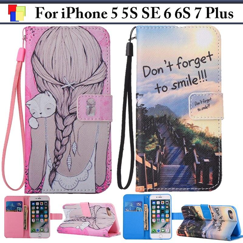 EiiMoo Phone Case For iPhone 5 5S SE 6 6S 7 Plus Luxury Cartoon Wallet Flip Leather Cover For iPone 5 6 7 S 6SPlus 7SPlus Funda