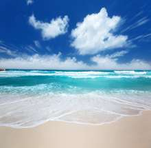 Céu azul nuvens brancas da praia do mar oceano foto pano de fundo de Vinil pano de Fundo do casamento de Alta qualidade de impressão Computador