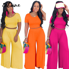Echoine 2 Two Piece Set Women Ribbed O Neck Crop Top and Long Straight Loose Pants Set Sexy Summer Short Sleeve Tracksuit 2019 o ring zipper ribbed crop top