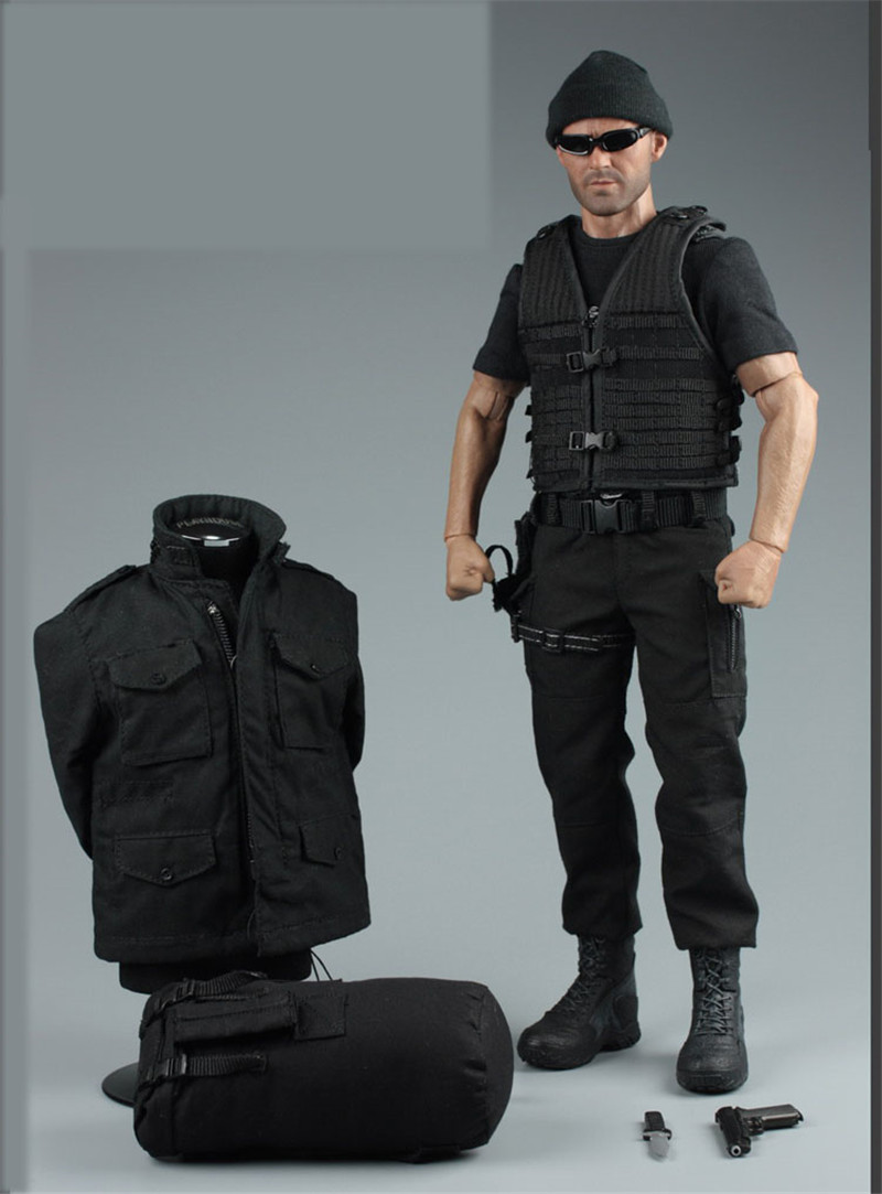 Mnotht 1/6 Jason Statham Black Suit Set Male Solider Secret Service Clothes With Coat T Shirt Boots Hats For 12in Figures l30
