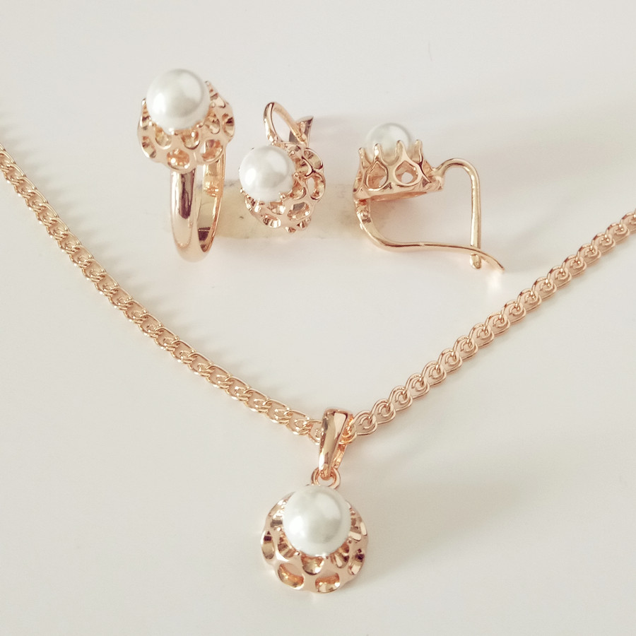 Classic Fashion Peal Jewelry Sets For Women Engagement: 1Set New 2017 Rose Gold Pearl Jewelry Fashion Wedding