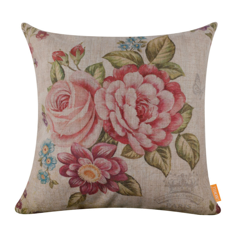 linkwell 45x45cm retro big pink rose garden flower burlap decorative couch sofa cushion cover. Black Bedroom Furniture Sets. Home Design Ideas