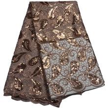Бесплатная доставка (5 ярдов/шт.) высококачественное фатиновое кружево с коричневыми блестками для роскошвечерние вечернего платья FLP802