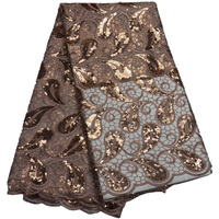 Free shipping (5yards/pc) high quality African net lace fabric ligh brown sequins tulle lace for luxury party dress FLP802
