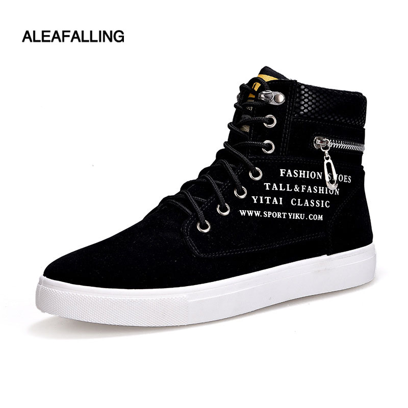 Aleafalling High Top Lace Up Flat Men Casual Shoes Street Trend Style Boy Sneakers Outdoor Relax Male Shoes Big Size 39-47 Ca001 tept79001 trend ready letters casual style