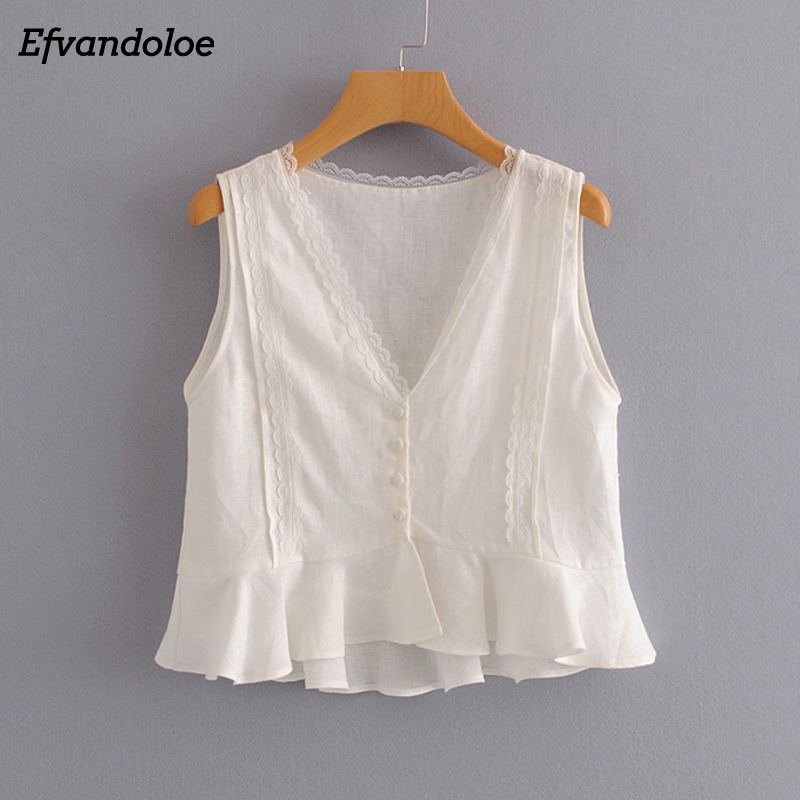 9754a56e1c8 Efvandoloe Sleeveless Blouse Women 2018 White Lace Summer Blusa Shirt V Neck  Cotton Linen Blouses Elegant