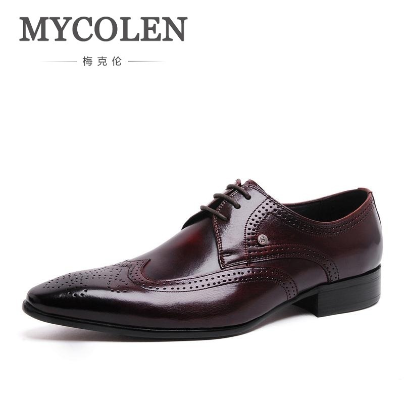 MYCOLEN ручной работы мужские туфли Для мужчин платье офисные туфли мужские черные роскошные кожаные вечерние туфли Sepatu Kulit Pria