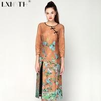 Новый Дизайн китайский Стиль пятно печати платье круглый вырез горловины Bodycon платье 3/4 рукавом элегантные дамы Платья для женщин Разделени