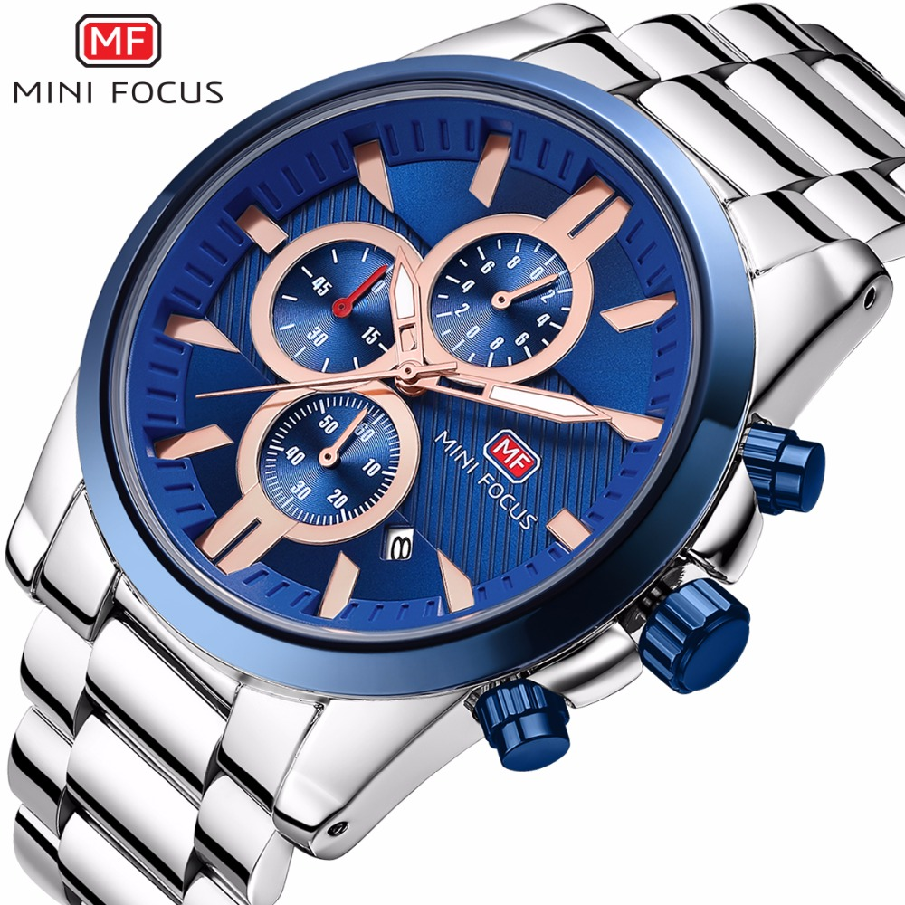 MINIFOCUS Stainless Steel Luxury Watch Men Chronograph Sport Quartz Watch Luminous Hands Male Clock Men Wristwatch Reloj Hombre купить недорого в Москве