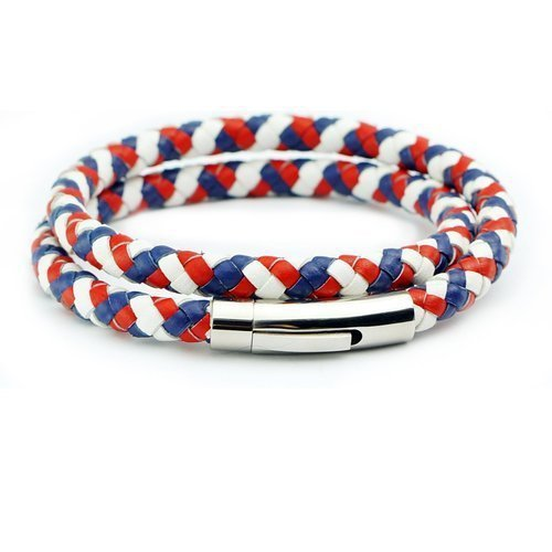 Men Braided Leather Bracelet Necklace French France Flag Color With Durable Stainless Steel Magnetic Clasp In Charm Bracelets From Jewelry Accessories On