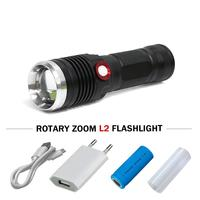 xm l2 flashlight telescopic zoom USB led torch flashlight 18650 or 26650 Rechargeable camping hand lamp led lantern lampe torche