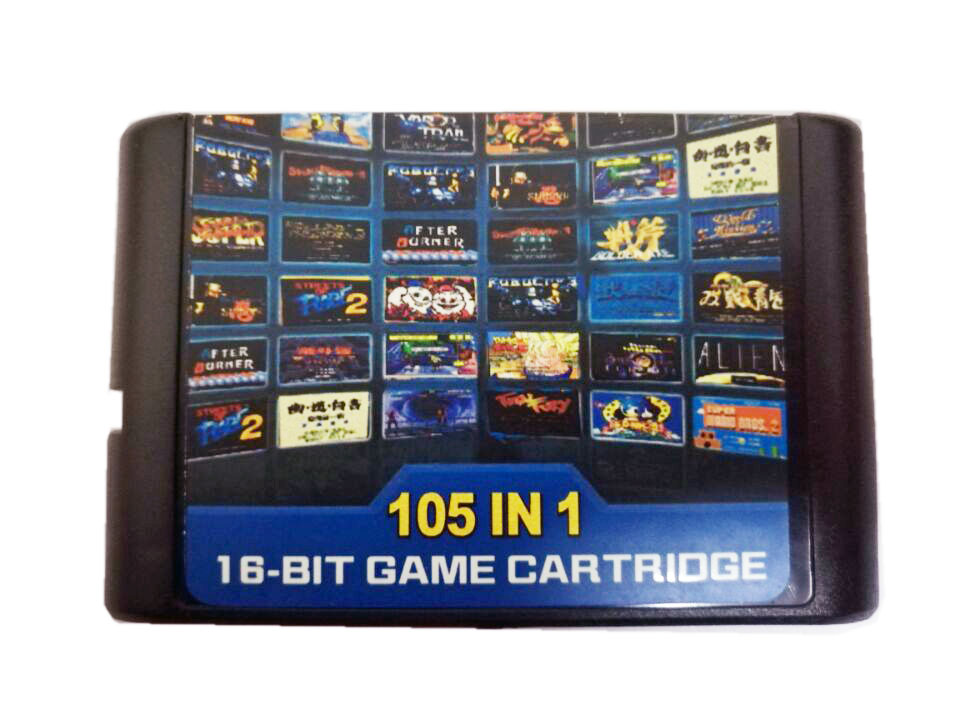 105 in 1 For Sega Megadrive Genesis Game Cartridge with Contra Streets of Rage Sonic Golden Axe image