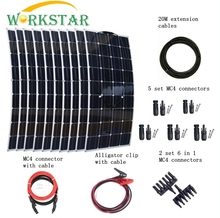 10pcs Mono 100w Solar Panels Modules with MC4 Connectors and Cables House Use Off Grid 1000w Solar System Factort Price
