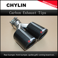 Free Shipping 2PCS Akrapovic Car Bright Glossy Carbon Fiber Exhaust End Pipes Single Muffler Tips
