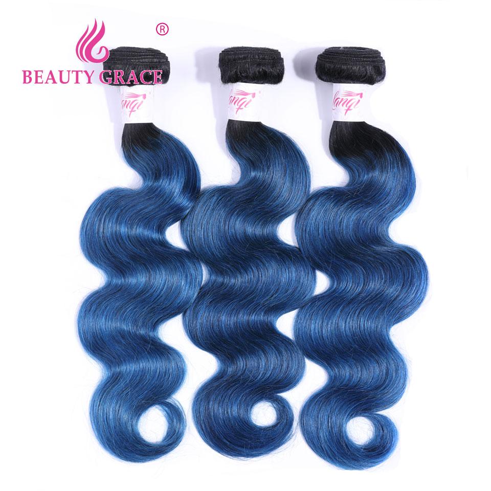 Brazilian Body Wave Bundles Ombre Hair Bundles 1B/ Blue Hair 3 Bundles Hair Weave Bundles Human Hair Extensions Deal NonRemy