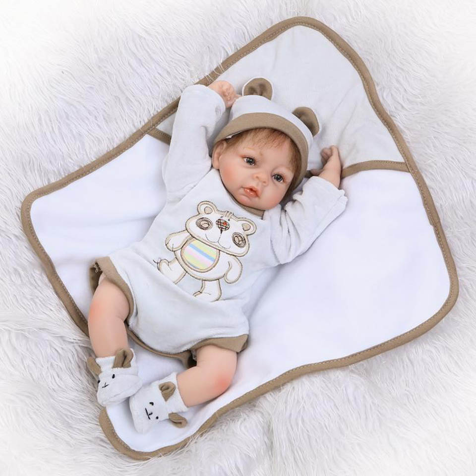 NPK Fashion 16'' Soft Silicone Reborn Baby Dolls Toy Realistic Babies Doll For Children Boy bebe Alive Bonecas Hair Rooted stuffed toys about 55cm npk bonecas silicone reborn baby dolls safe and big eyes for 22inch soft vinyl alive baby toy for girls