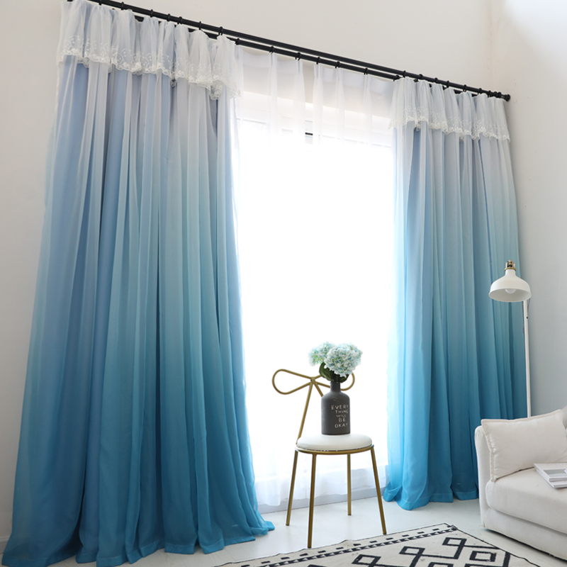 Tulle+Black Out Double Curtains High Black Out Blinds Window Curtains for Princess Livingroom 5 Colors Available