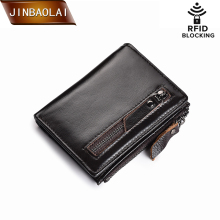 Genuine Leather Wallet Brand Women&Men Wallet  RFID Wallet Hasp&Zipper Short Coin Purse Slim Credit Card Holder Wallets carteira rfid crazy horse genuine leather men wallets credit business card holders double zipper cowhide leather wallet purse carteira