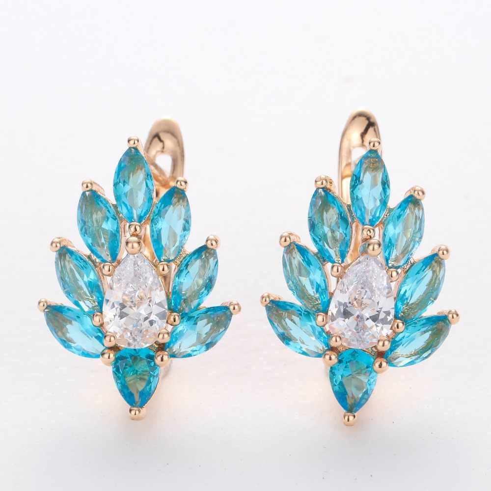 d914575e9 HANRESHE Blue Stone Leaf Shaped Stud Earrings For Women 585 Rose Gold  Filled Womens Earring Round