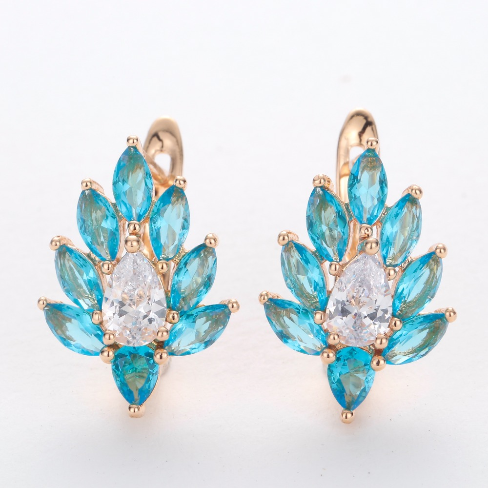 HANRESHE Blue Stone Leaf Shaped Stud Earrings For Women 585 Rose Gold Filled Womens Earring Round Wholesale Jewelry Gift