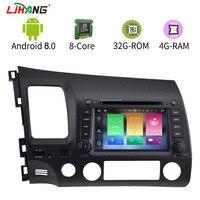 LJHANG 8 Core 4G+32G Android 8.0 Car DVD For HONDA CIVIC 2006 2011 1024*600 WIFI Audio Radio Multimedia Player GPS Navigation SD